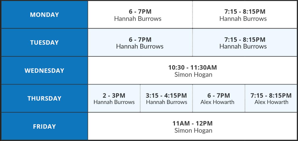 Pilates timetable 8/1/19